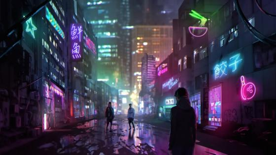 Futuristic cyberpunk anime city wallpaper