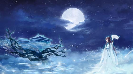 Anime girl at full moon wallpaper