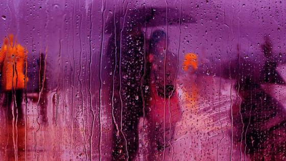 Couple in the rain wallpaper