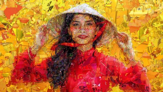 Vietnamese girl mosaic art wallpaper