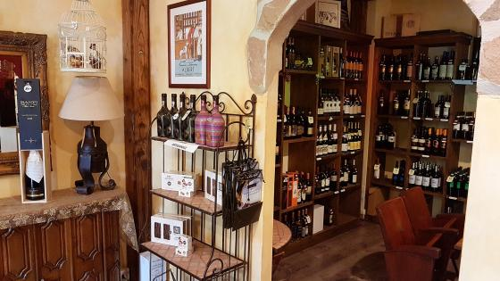 Wine shop interior wallpaper