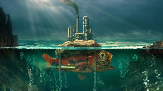 Steampunk underwater world wallpaper