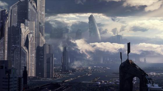 Futuristic city fantasy art wallpaper