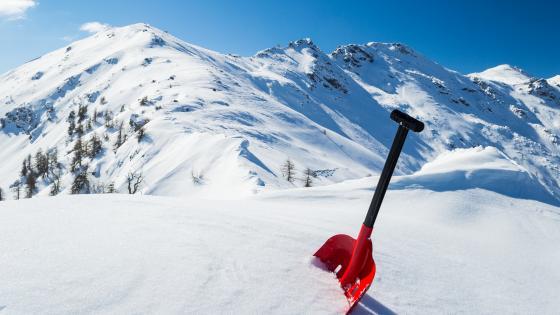 Snow shovel in the snow wallpaper