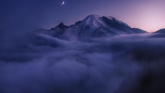 Mt. Rainier at night wallpaper
