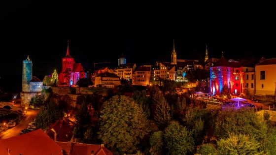 Colorful lights of Bautzen (Germany) wallpaper