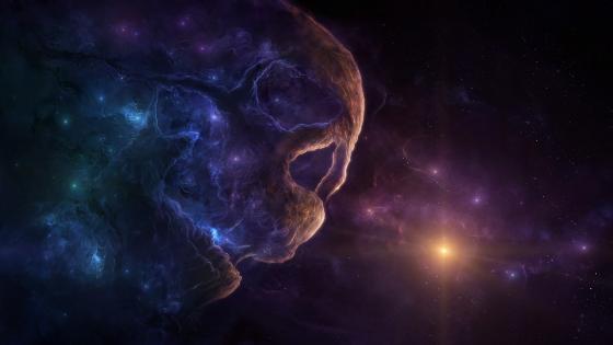 Skull nebula space art wallpaper
