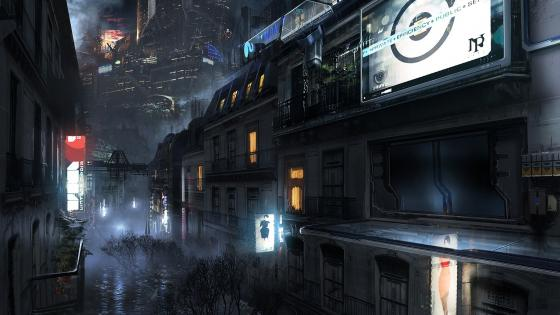 Science fiction future city wallpaper