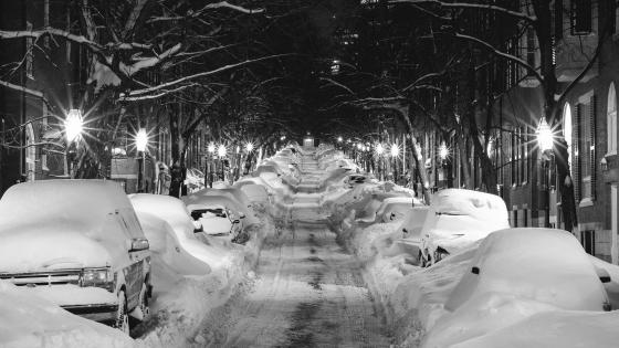 Street after blizzard wallpaper