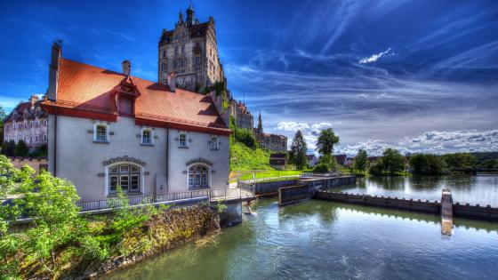 Sigmaringen Castle from Danube River wallpaper