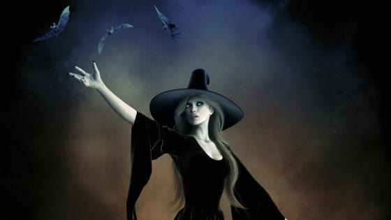 Gothic demonic witch with bats wallpaper