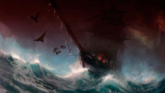 Sailing ship on the stormy sea wallpaper