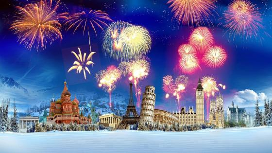 Fireworks on world cities wallpaper