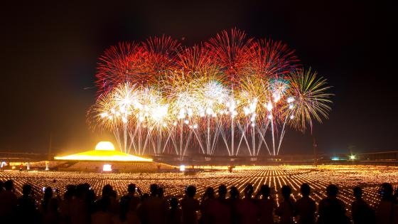 Crowd Watching Fireworks at Wat Phra Dhammakaya Temple wallpaper