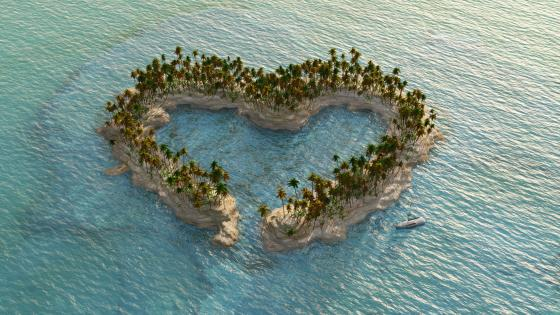 Heart shaped island wallpaper