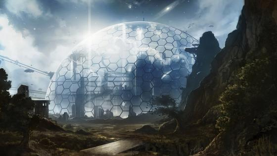 City under the dome - Fantasy art wallpaper