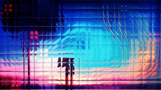 Woman under colour wind wallpaper