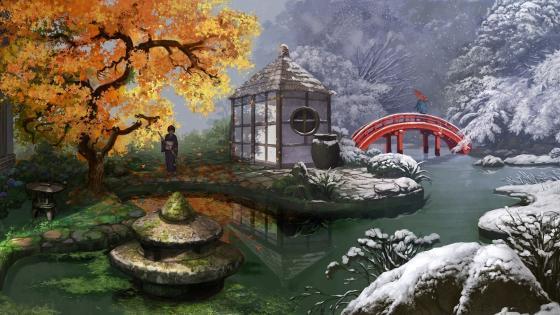 Autumn meets winter wallpaper