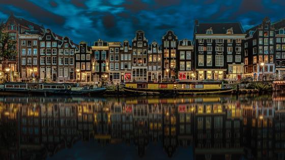 Amsterdam night cityscape reflection wallpaper