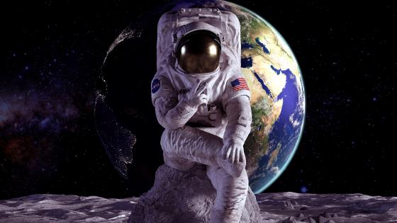 Astronaut on the moon wallpaper