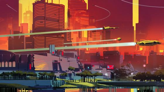 Futuristic city illustration wallpaper