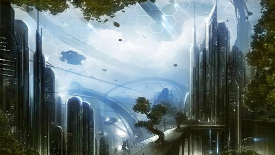 Futuristic cityscape wallpaper