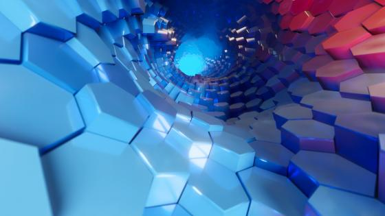 Hexagon tunnel wallpaper