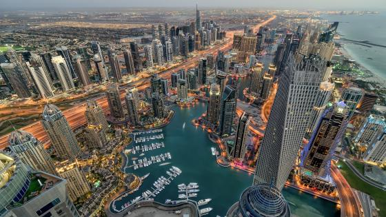 Dubai Marina aerial view wallpaper