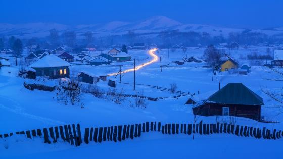Siberian village wallpaper