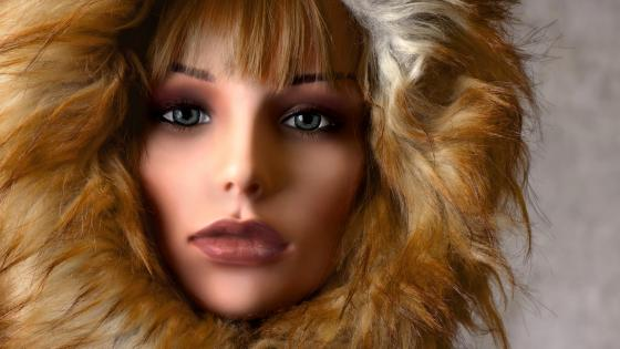 Fur hood doll wallpaper