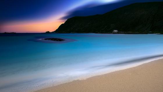 Beach at dusk wallpaper