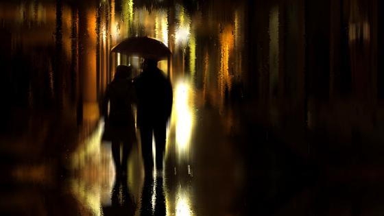Romantic rainy night wallpaper