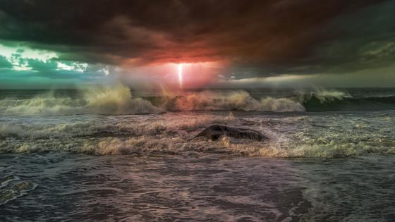 Sea storm with lightning wallpaper