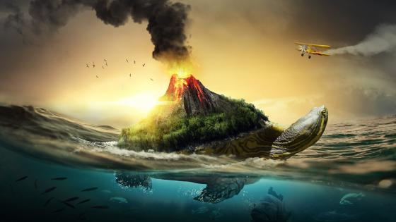 Surrealistic turtle volcano wallpaper