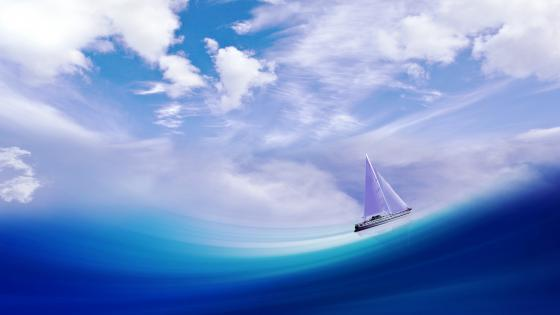 Sailbaot on the blue sea wallpaper