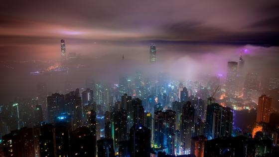 Foggy Hong Kong skyline wallpaper