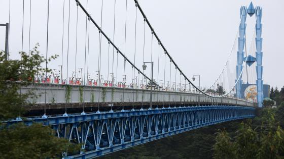 Ryujinotsuri Bridge in Hitachiota, Japan wallpaper