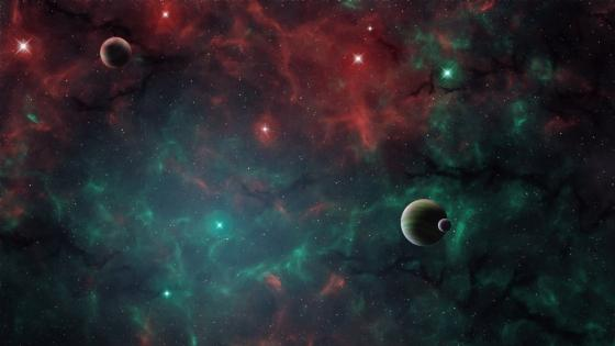 Planets in a nebula wallpaper