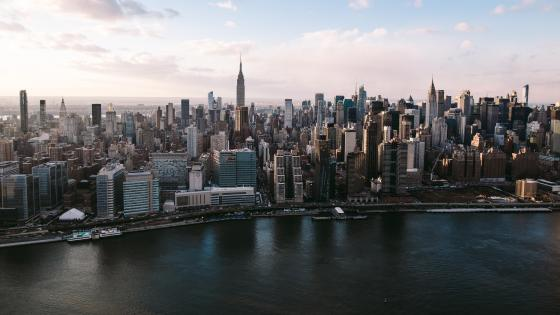 Manhattan Skyline from the Sky wallpaper