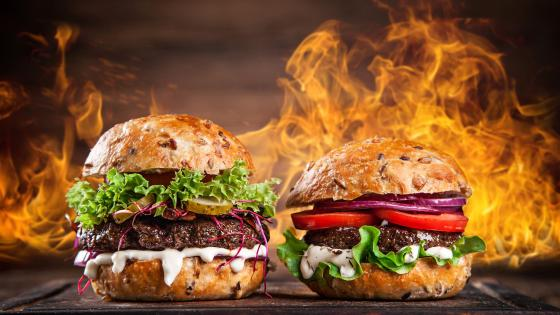 Hamburgers with fire wallpaper