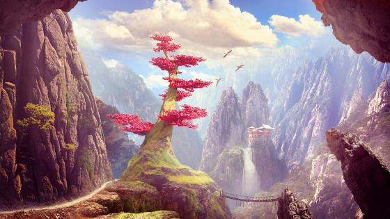 Chinese landscape fantasy art wallpaper