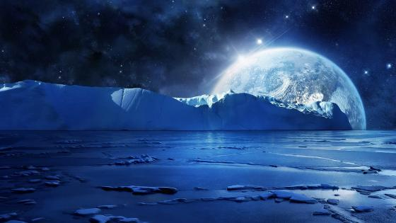 Icy planet landscape wallpaper