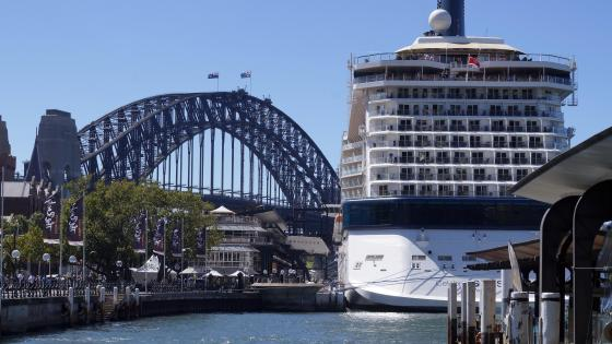 Sydney Harbour Bridge Behind a Cruise Ship wallpaper