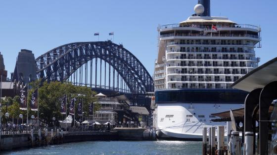 Sydney Harbour Bridge Behind a Cruise Ship wallpaper