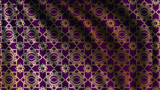 Purple silk with golden pattern wallpaper