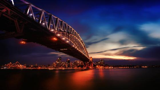 Sydney Harbour Bridge at dusk wallpaper