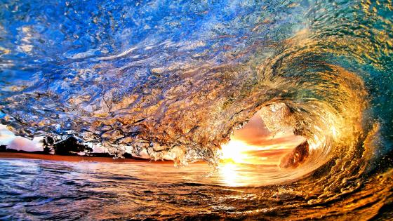 Wave in a Hawaiian beach wallpaper