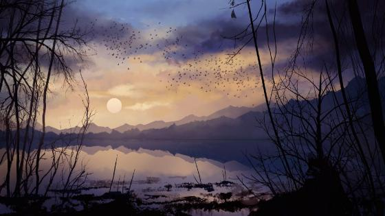 Lakeshore digital painting wallpaper