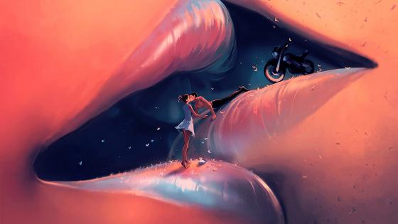 Kissing couple on lips - Fantasy art wallpaper