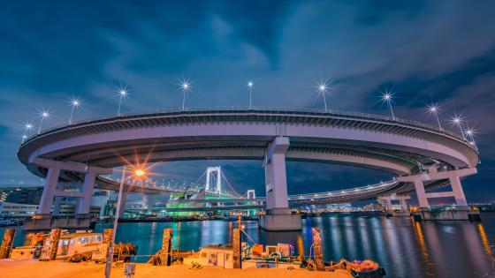 Rainbow Bridge curving over bay to Odaiba Japan wallpaper